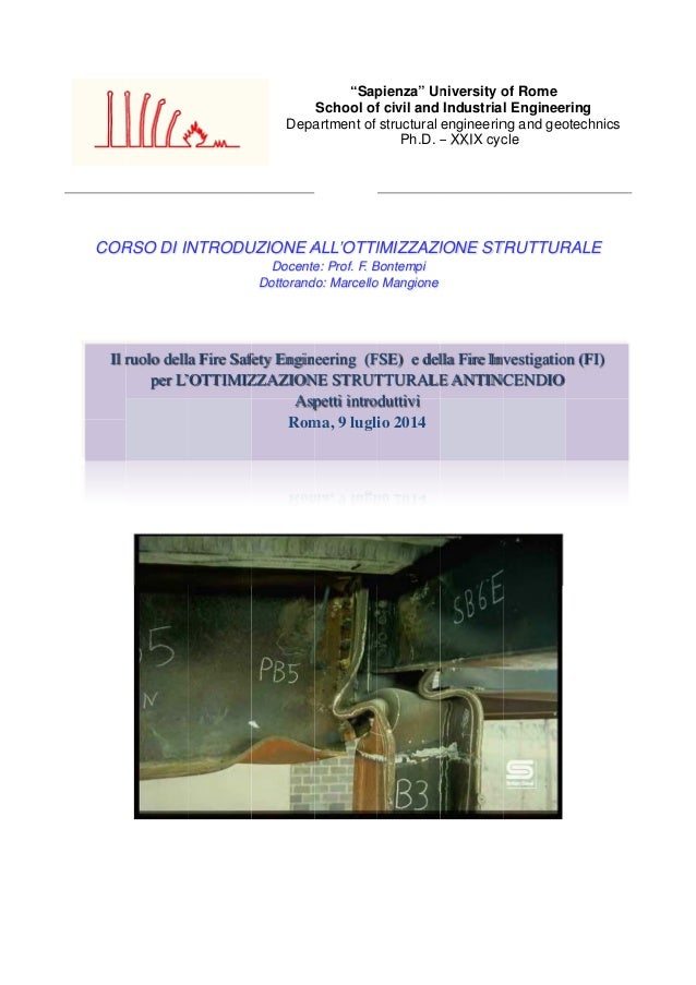 COR Il r RSO DI IN ruolo della per L' NTRODU a Fire Saf OTTIMIZ Depa UZIONE A Docente Dottorand fety Engin ZZAZION Asp Rom...