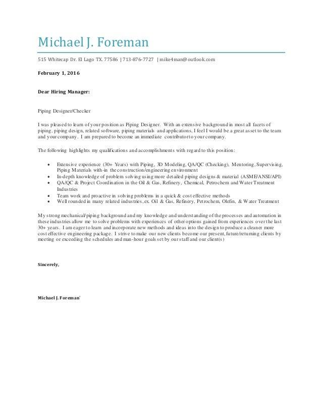M.Foremanu0027s Cover Letter. Michael J. Foreman 515 Whitecap Dr. El Lago TX.  77586 | 713