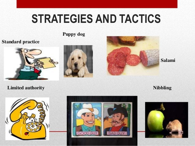 STRATEGIES AND TACTICS Standard practice Limited authority Salami Nibbling Puppy dog