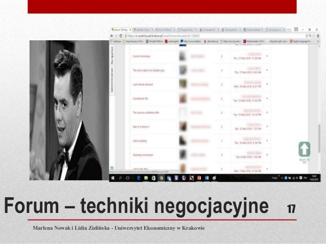 Forum – techniki negocjacyjne Marlena Nowak i Lidia Zielińska - Uniwersytet Ekonomiczny w Krakowie 17