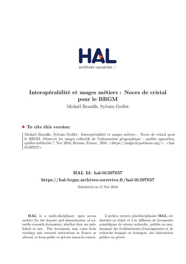 Interop´erabilit´e et usages m´etiers : Noces de cristal pour le BRGM Micka¨el Beaufils, Sylvain Grellet To cite this versi...