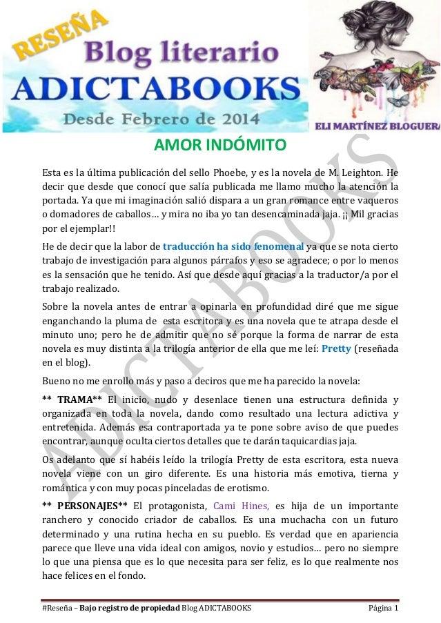#Reseña – Bajo registro de propiedad Blog Literario Adictabooks #Reseña – Bajo registro de propiedad Blog ADICTABOOKS Pági...