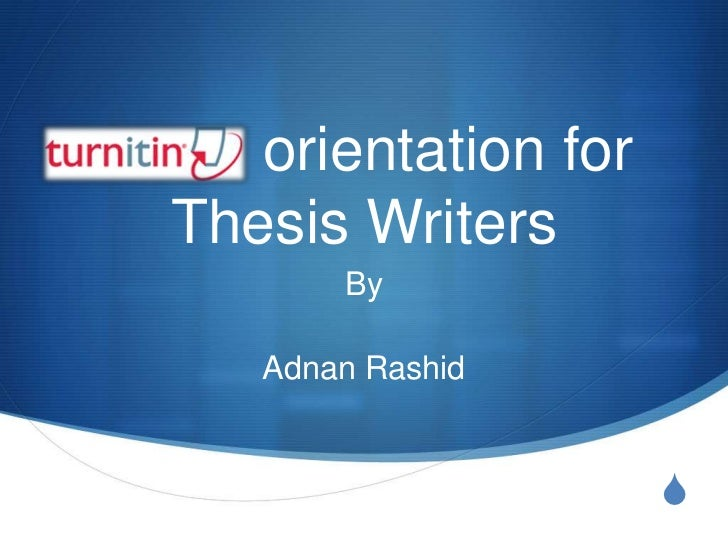 orientation for Thesis Writers<br />By <br />Adnan Rashid<br />