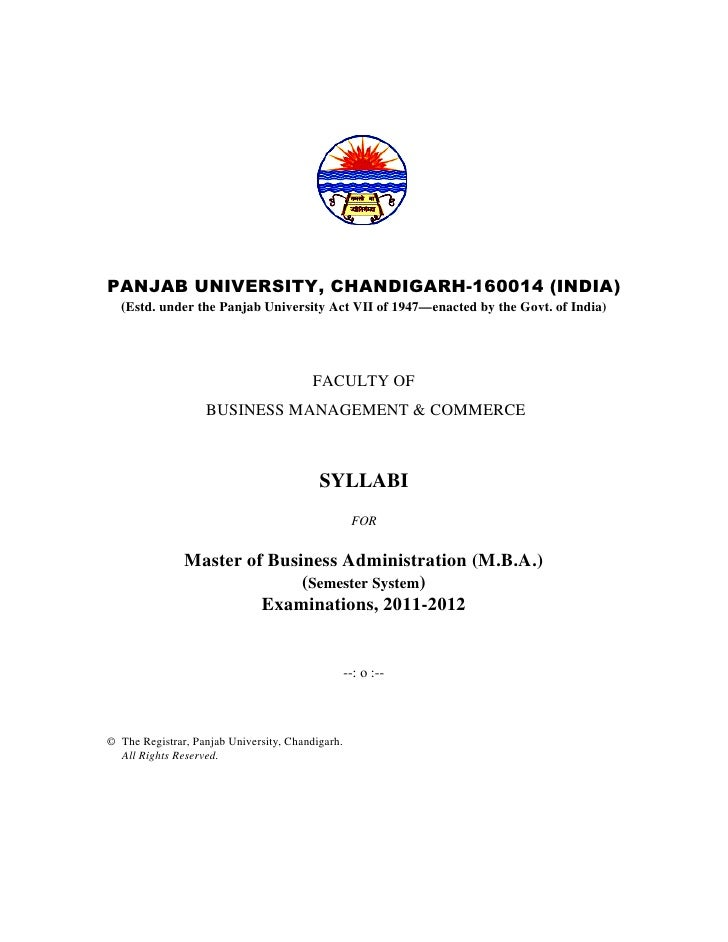 PANJAB UNIVERSITY, CHANDIGARH-160014 (INDIA)  (Estd. under the Panjab University Act VII of 1947—enacted by the Govt. of I...