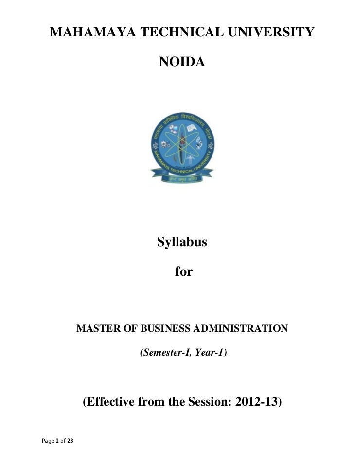 MAHAMAYA TECHNICAL UNIVERSITY                             NOIDA                            Syllabus                       ...