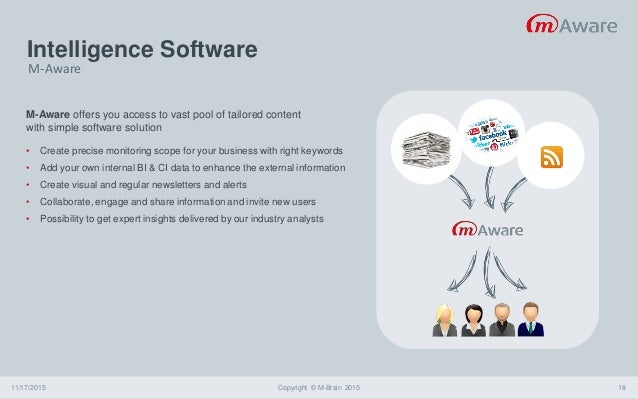 Intelligence Software 11/17/2015 Copyright © M-Brain 2015 18 M-Aware offers you access to vast pool of tailored content wi...