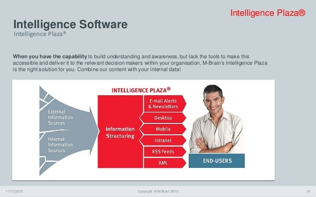 Intelligence Software 11/17/2015 Copyright © M-Brain 2015 19 When you have the capability to build understanding and aware...