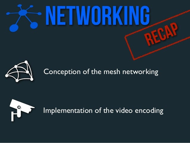 networking                               R EC APConception of the mesh networkingImplementation of the video encoding