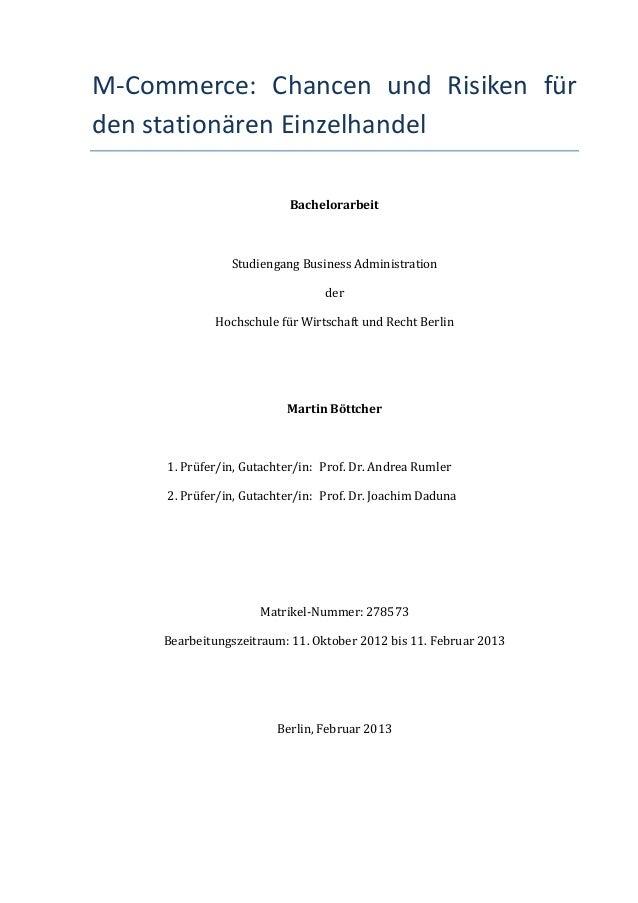 M-‐Commerce:  Chancen  und  Risiken  für den stationären Einzelhandel                                    ...