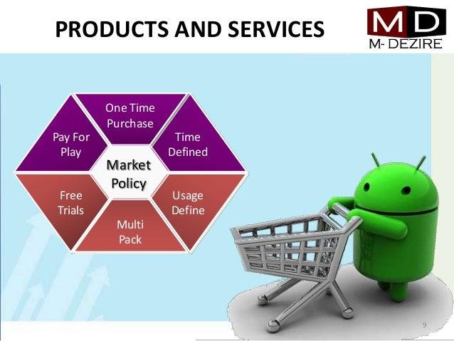 PRODUCTS AND SERVICESOne TimePurchaseFreeTrialsUsageDefineMultiPackPay ForPlayTimeDefinedMarketPolicy9