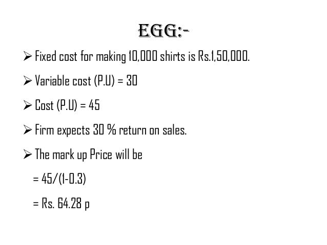 cost plus pricing equation