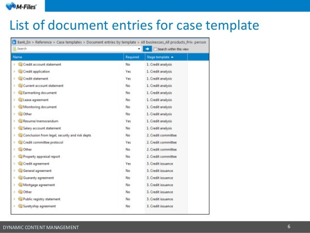 M files solution for managing credit case documentation in banks department 6 dynamic content management 6 list of document entries for case template pronofoot35fo Images