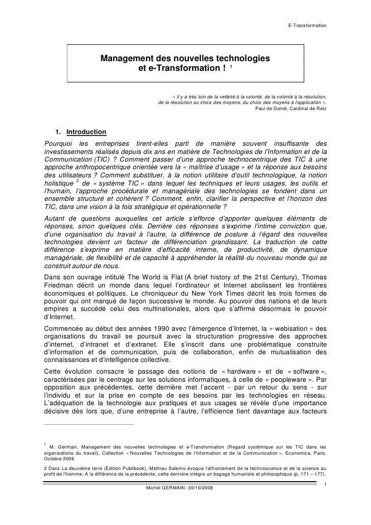 E-Transformation                              Management des nouvelles technologies                                 et e-T...