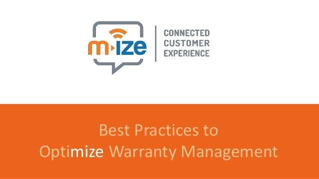 m-ize 10 best practices to optimize warranty management