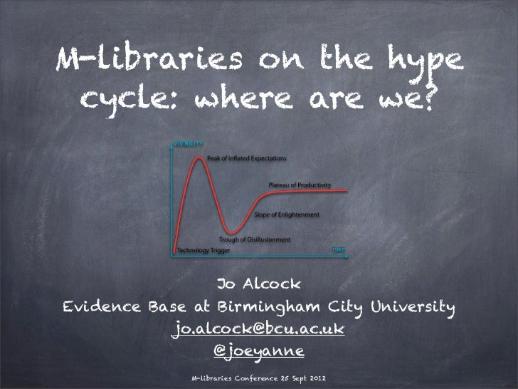 M-libraries on the hype cycle: where are we?                 Jo AlcockEvidence Base at Birmingham City University         ...