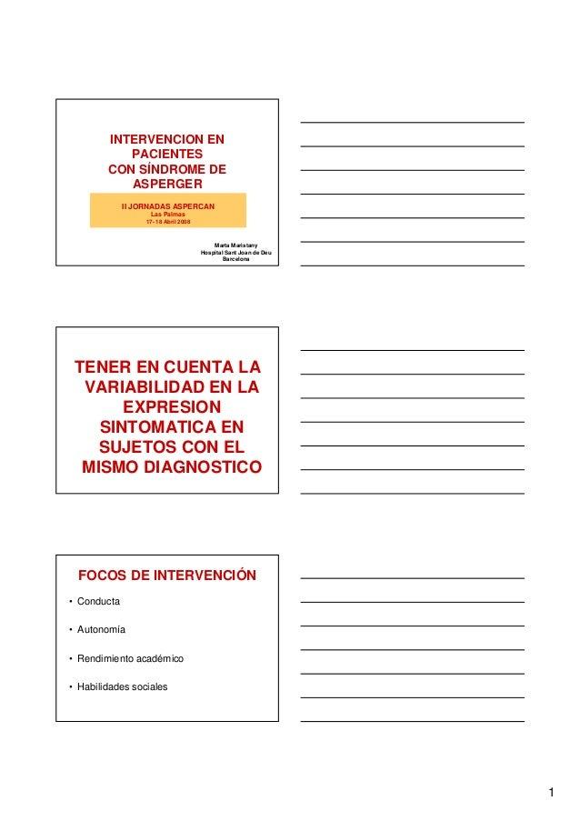 INTERVENCION EN           PACIENTES        CON SÍNDROME DE           ASPERGER             II JORNADAS ASPERCAN            ...