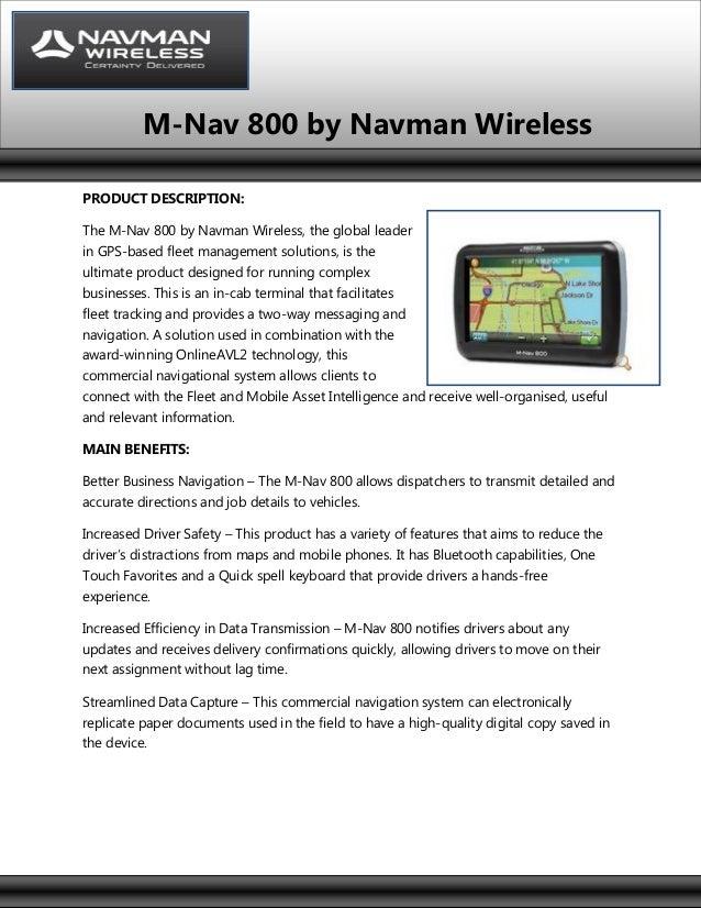M-nav 800 - Navman Wireless