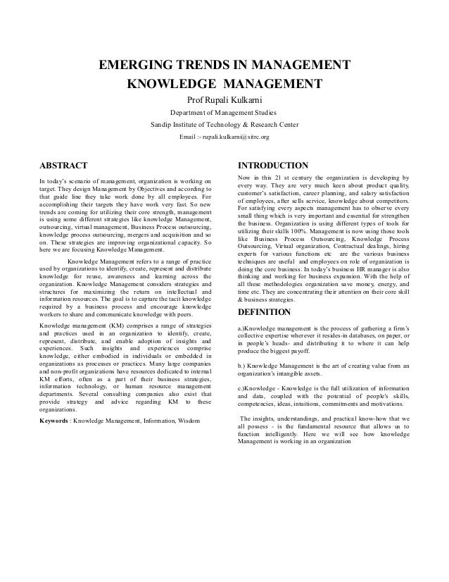 EMERGING TRENDS IN MANAGEMENT                         KNOWLEDGE MANAGEMENT                                                ...