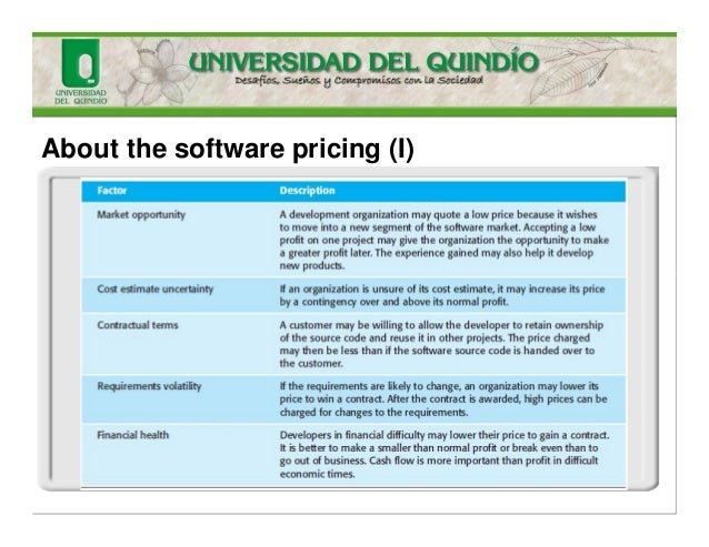 About the software pricing (I)