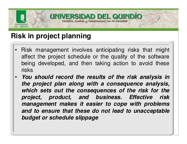 Risk in project planning • Risk management involves anticipating risks that might affect the project schedule or the quali...