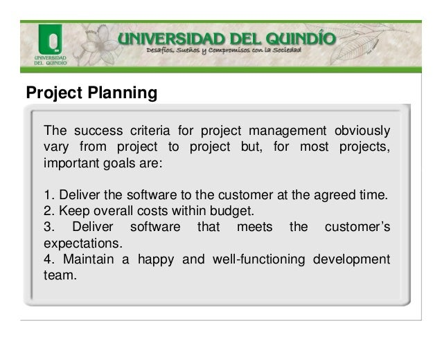 Project Planning The success criteria for project management obviously vary from project to project but, for most projects...