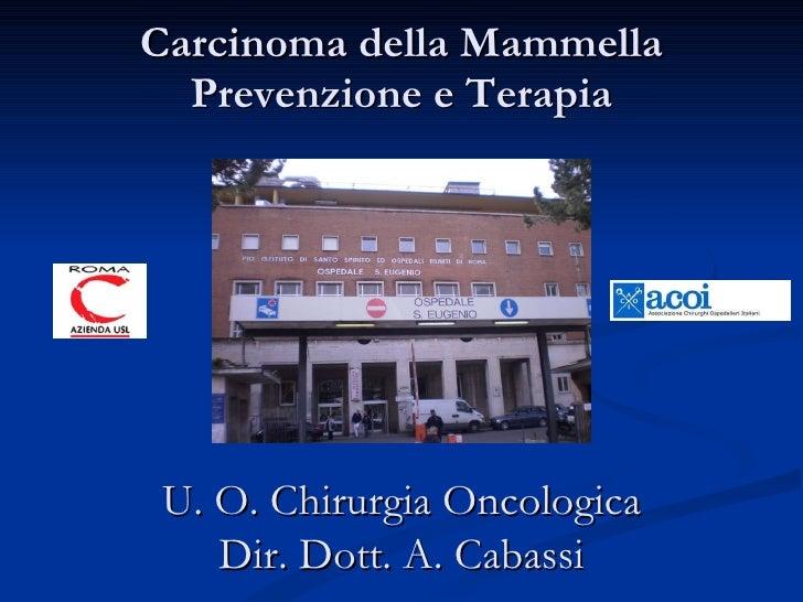 Carcinoma della Mammella Prevenzione e Terapia U. O. Chirurgia Oncologica Dir. Dott. A. Cabassi