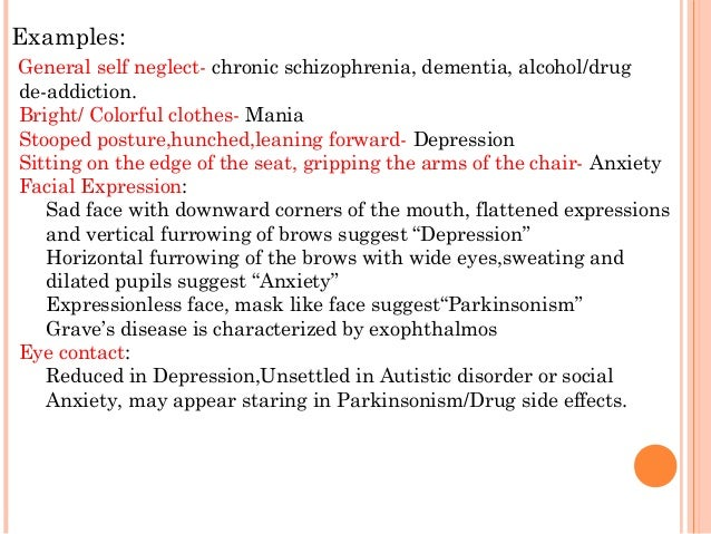 mental status exam descriptive words