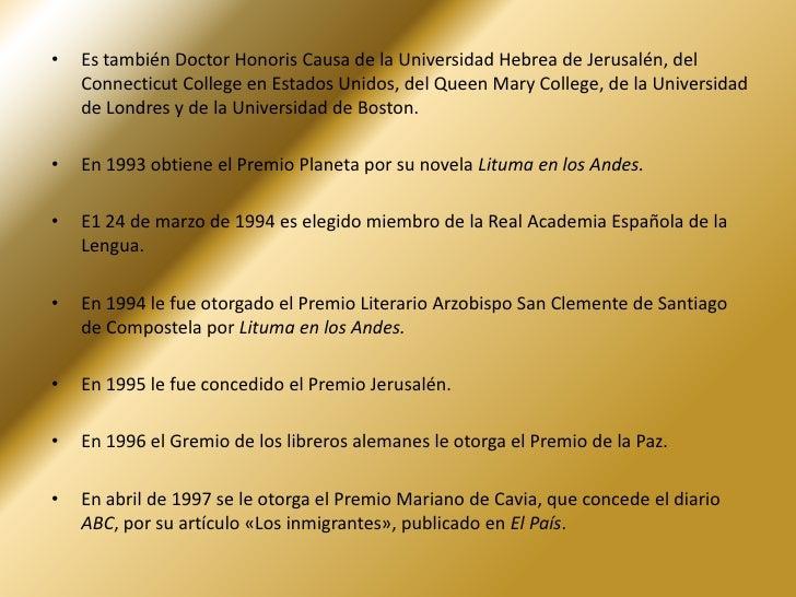 En 1967 obtiene los premios Nacional de Novela del Perú, el Premio de la Crítica Española y el Rómulo Gallegos por su nove...