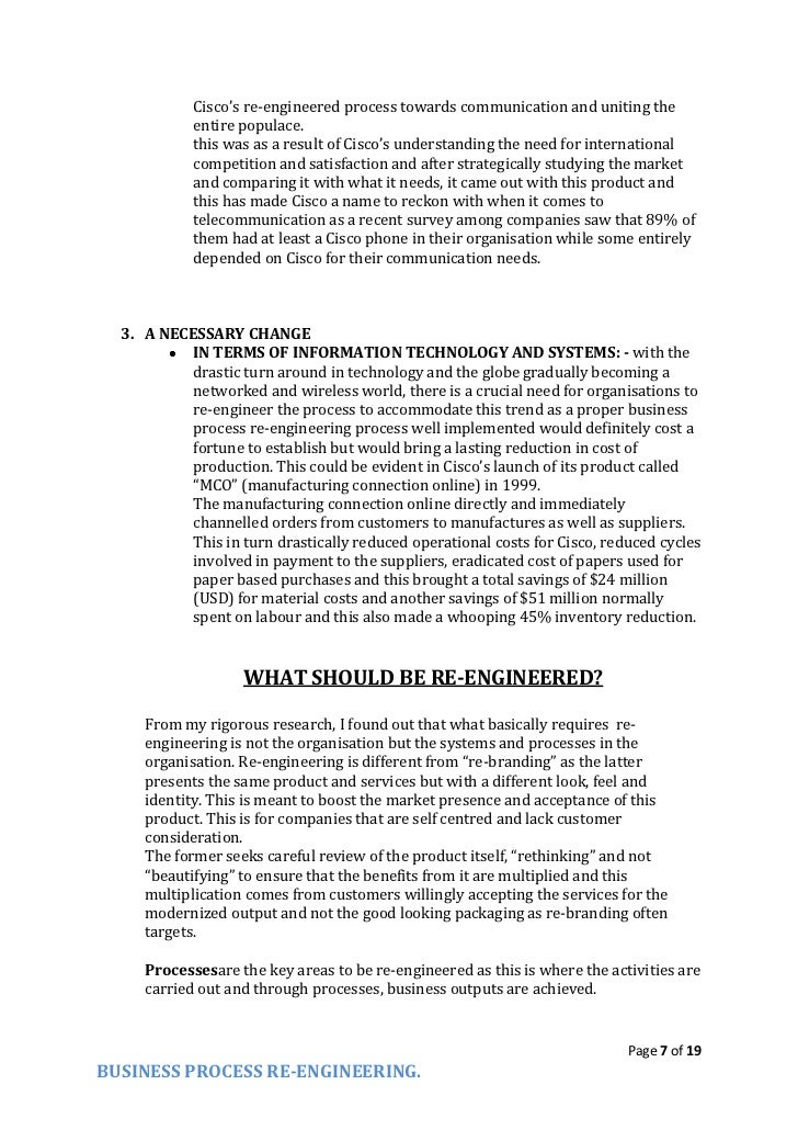 reengineering process essay The process benchmarking and process reengineering is one of the most popular assignments among students' documents if you are stuck with writing or.