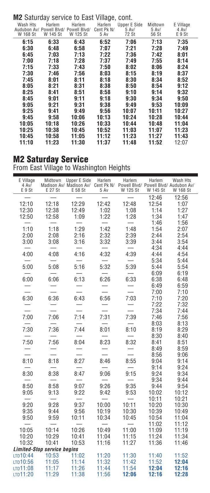 M2 Bus Schedule