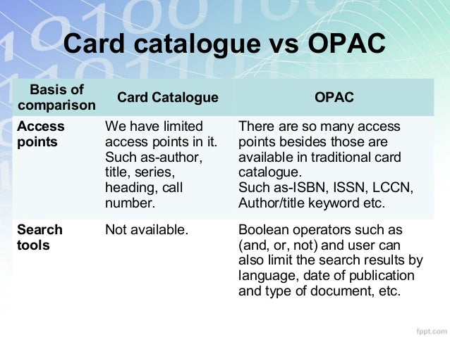 Web opac 8 card catalogue vs opac stopboris Choice Image