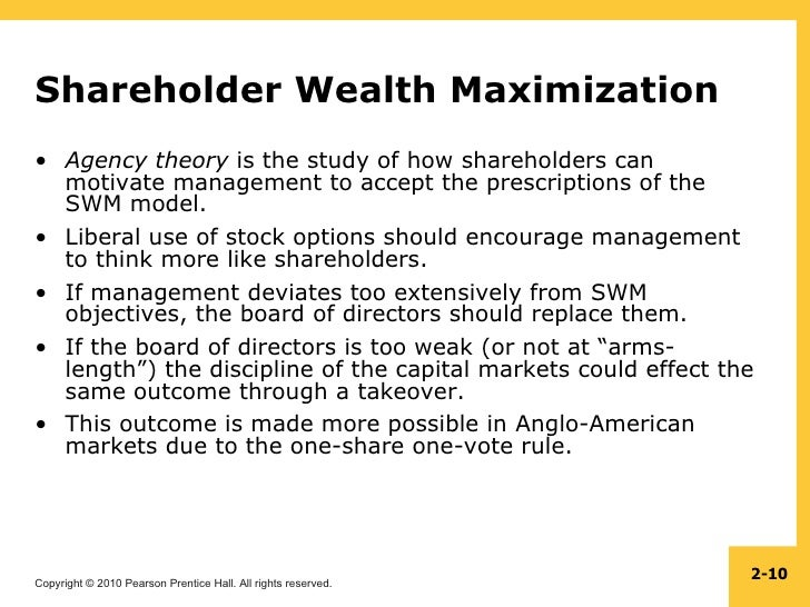 maximising shareholders wealth The goal of maximization of shareholders wealth deal with the problems brought up by profit maximization in quite a simple way, because maximizing shareholders wealth just means modifying the goal of profit maximization to address the complexities of the operating environment.