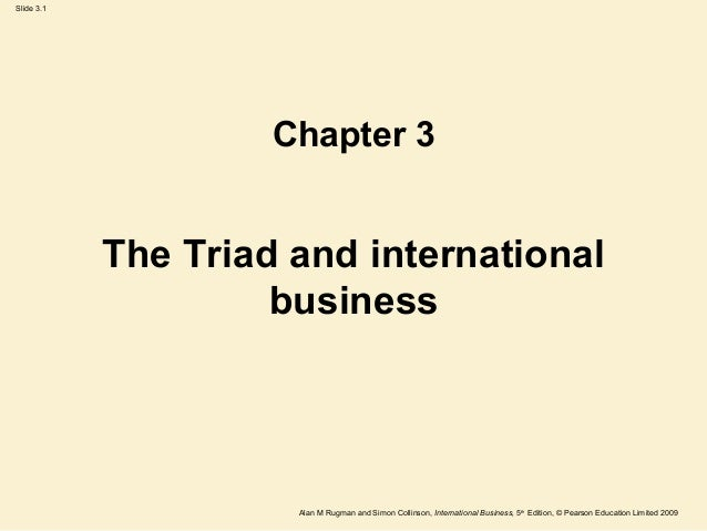 Slide 3.1 Alan M Rugman and Simon Collinson, International Business, 5th Edition, © Pearson Education Limited 2009 The Tri...
