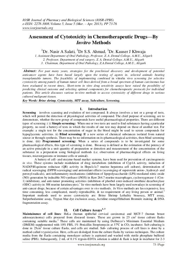 IOSR Journal of Pharmacy and Biological Sciences (IOSR-JPBS)e-ISSN: 2278-3008.Volume 5, Issue 5 (Mar. – Apr. 2013), PP 73-...