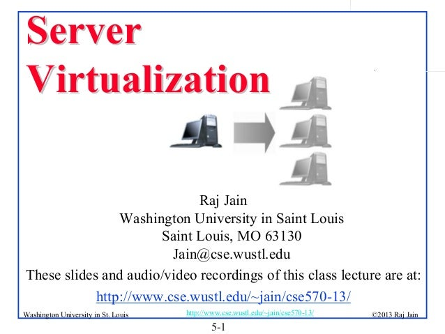 Server Virtualization  .  Raj Jain Washington University in Saint Louis Saint Louis, MO 63130 Jain@cse.wustl.edu These sli...
