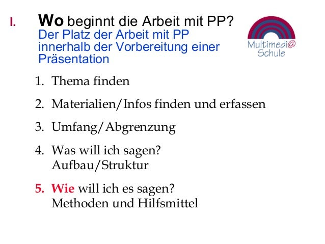 I. Wo beginnt die Arbeit mit PP? Der Platz der Arbeit mit PP innerhalb der Vorbereitung einer Präsentation 1. Thema finden...