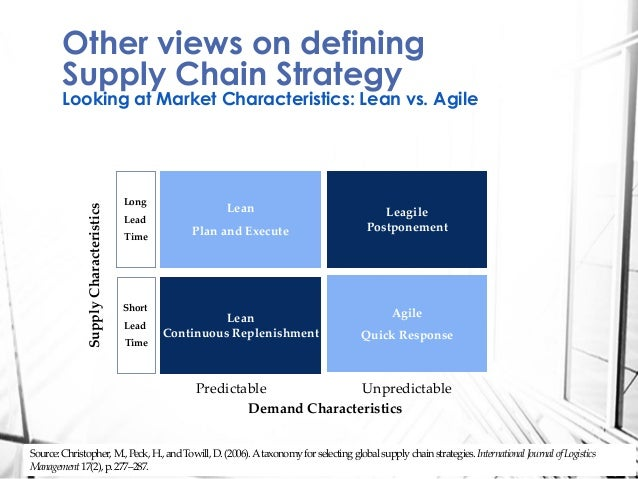 lean and agile supply chain strategies Does supply chain leanness mean the supply chain organisation is also agile, or are the 2 elements conflicting, or independent initial thoughts by tony colwell  lean vs agile supply.