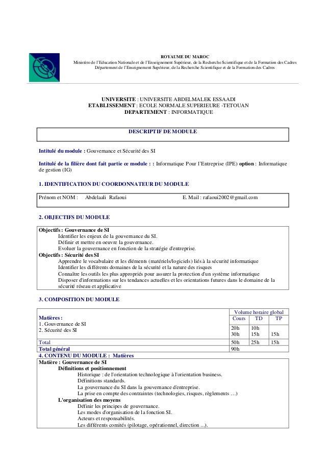 ROYAUME DU MAROC Ministère de l'Education Nationale et de l'Enseignement Supérieur, de la Recherche Scientifique et de la ...
