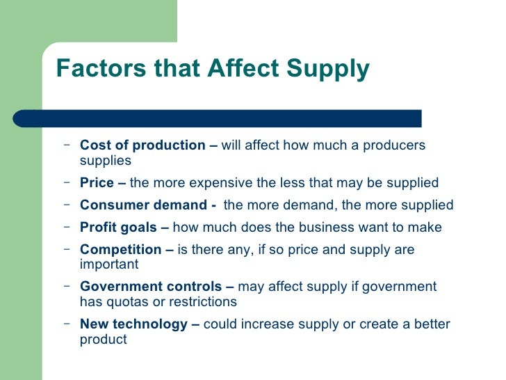 Factors affecting the supply of steel