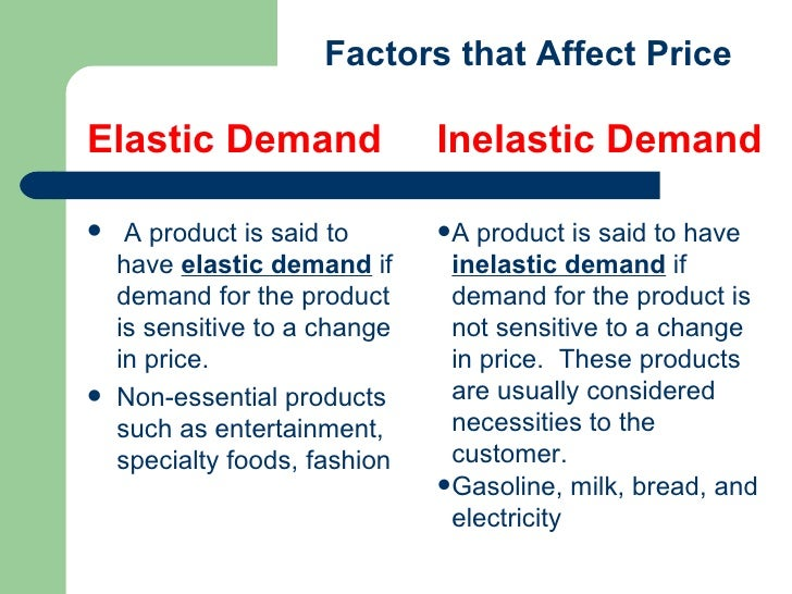 factors that affect the elasticity of demand for mcdonalds Coffee supply and demand some factors that affect the demand curve are society's income, the price of the goods, tastes, expectations and taxes.