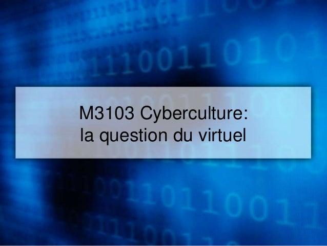 M3103 Cyberculture:  la question du virtuel