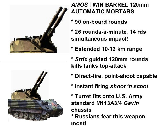 m113a4 gavins  amos twin 120mm mortars
