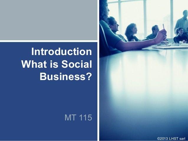 ©2013 LHST sarlIntroductionWhat is SocialBusiness?MT 115