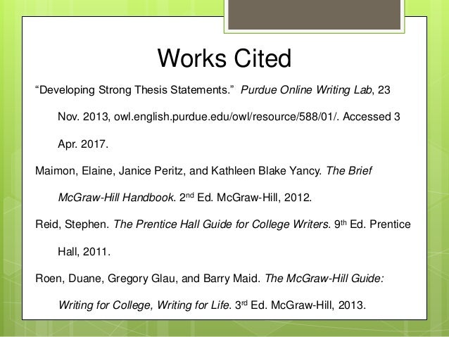 thesis works cited