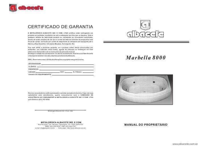 Manual Banheira Marbella 8000