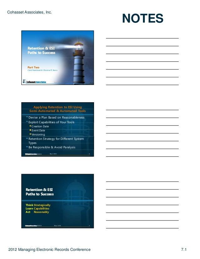 Cohasset Associates, Inc.                                                               NOTES           Retention & ESI   ...