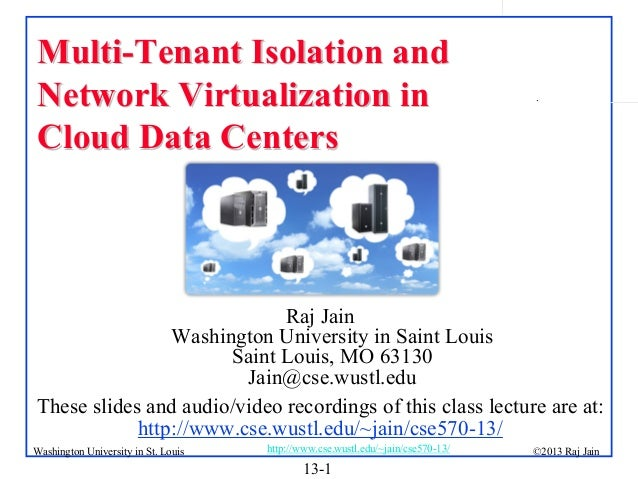 Multi-Tenant Isolation and Network Virtualization in Cloud Data Centers  .  Raj Jain Washington University in Saint Louis ...