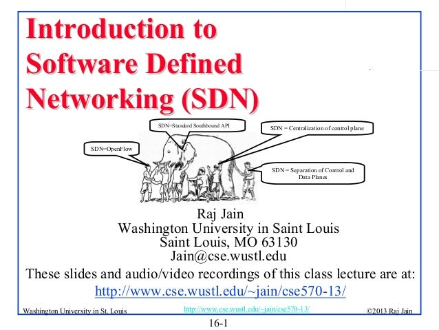 Introduction to Software Defined Networking (SDN) SDN=Standard Southbound API  .  SDN = Centralization of control plane  S...