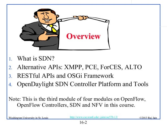 Overview 1. 2. 3. 4.  What is SDN? Alternative APIs: XMPP, PCE, ForCES, ALTO RESTful APIs and OSGi Framework OpenDaylight ...