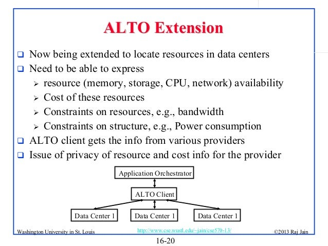 ALTO Extension       Now being extended to locate resources in data centers Need to be able to express  resource (mem...